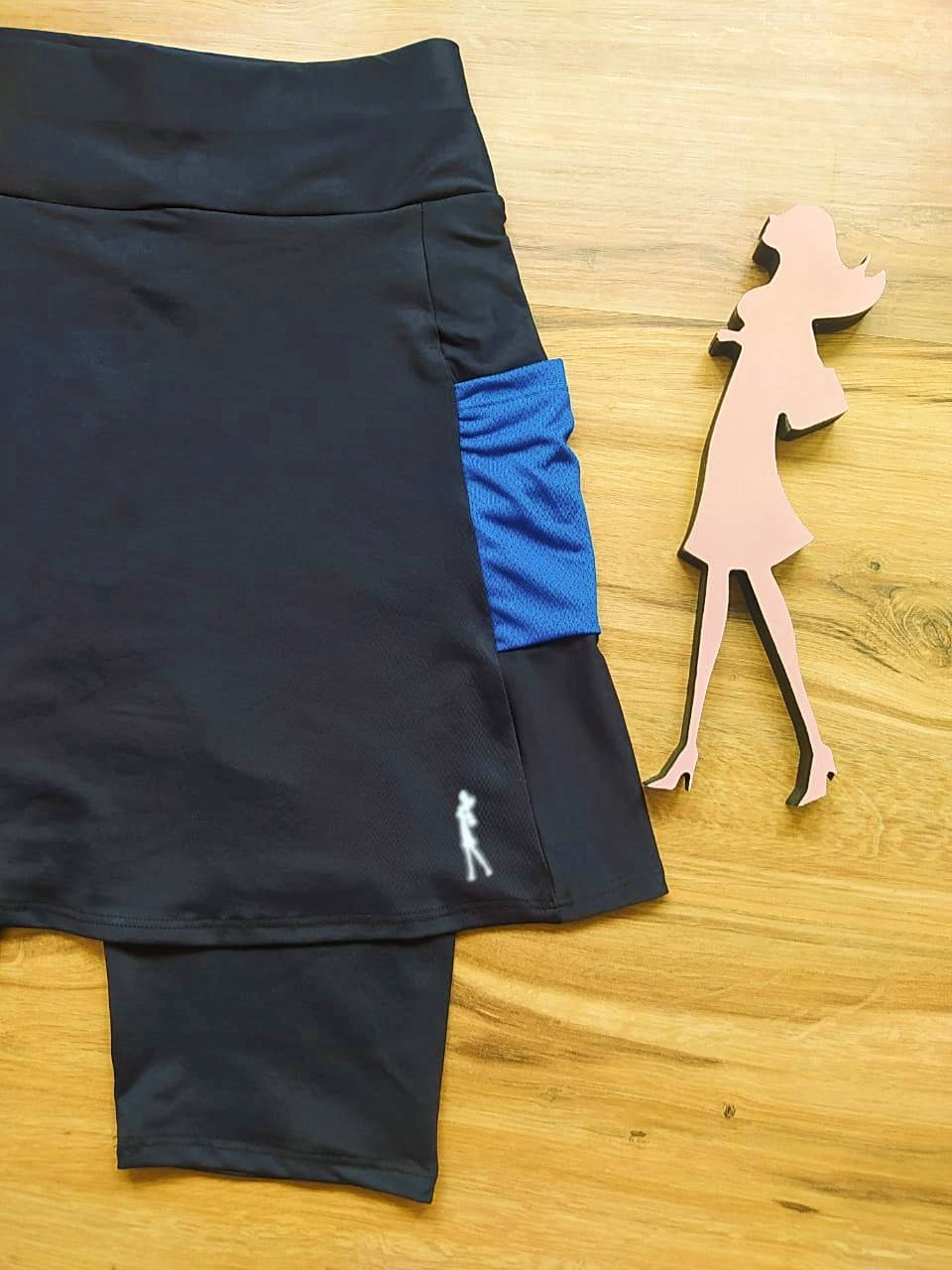 Saia Bermuda Nina - Esporte Fitness Saia Bela - SBF004 - Preto e Azul