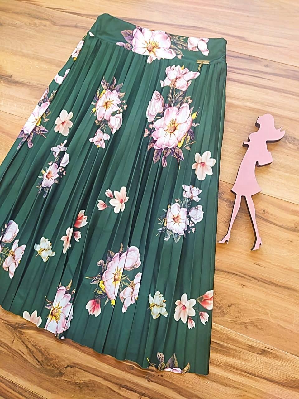 Saia Flower Plissada Midi Estampada Saia Bella cod SB9938 - verde