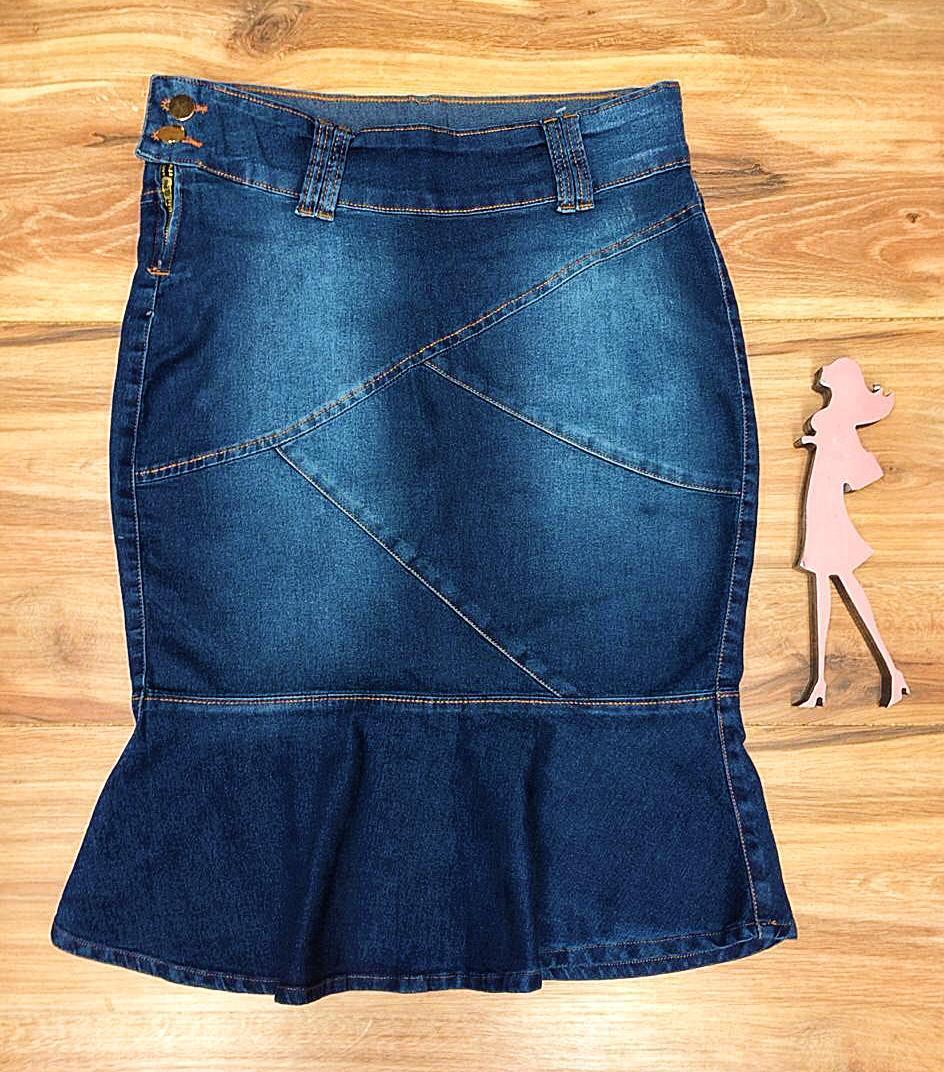 Saia Jeans Coleção Encanto Saia Bella SB052 Escura