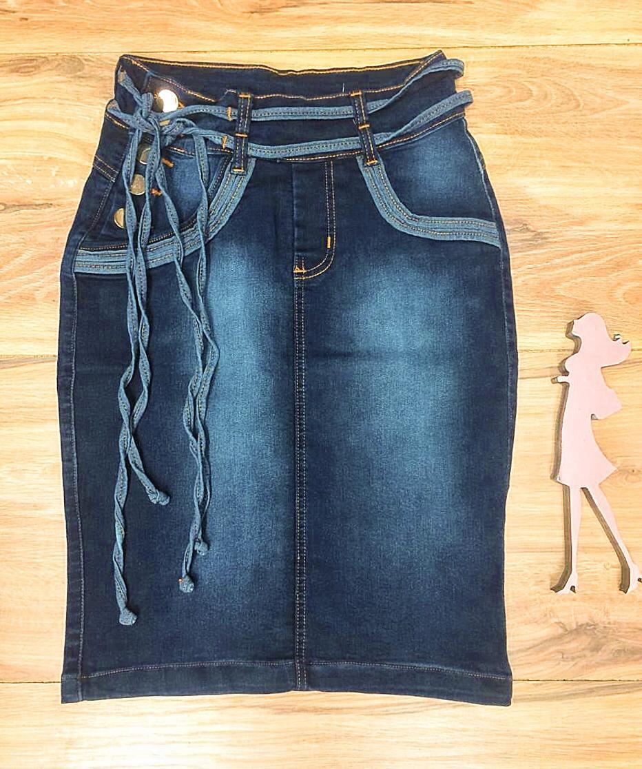 Saia Jeans Coleção Encanto Saia Bella SB054 Escuro