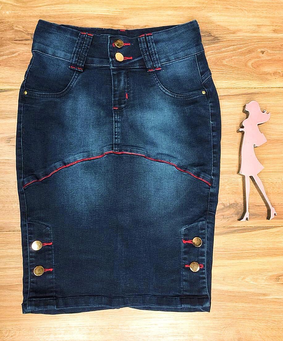 Saia Jeans Coleção Encanto Saia Bella SB056 Escura