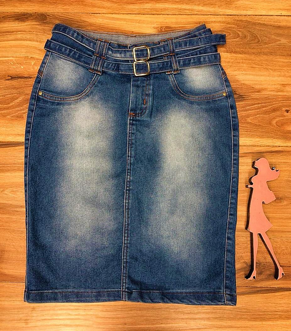Saia Jeans Coleção Encanto Saia Bella SB057 Claro