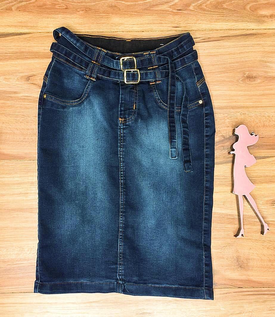 Saia Jeans Coleção Encanto Saia Bella SB057 Escuro