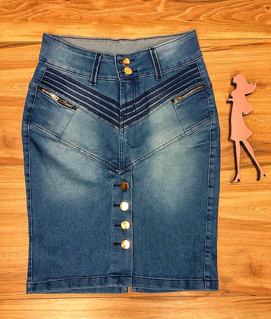 Saia Jeans Coleção Encanto Saia Bella SB058 Claro