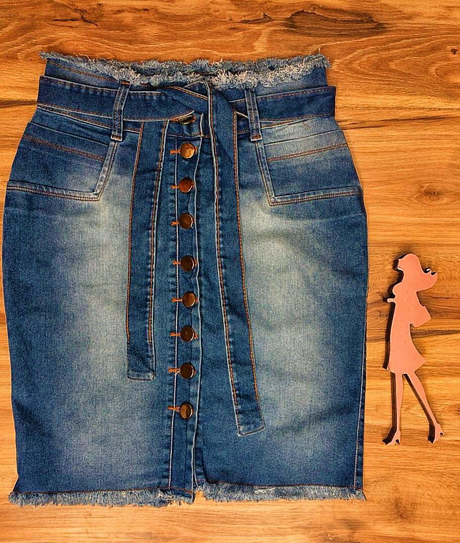 Saia Jeans Coleção Encanto Saia Bella SB060 Claro