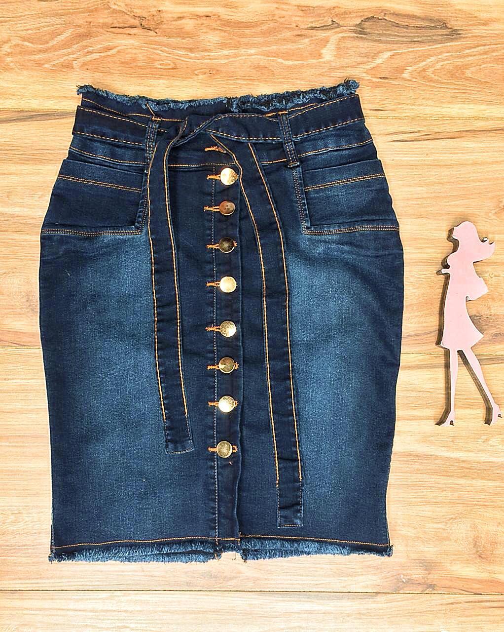 Saia Jeans Coleção Encanto Saia Bella SB060 Escuro