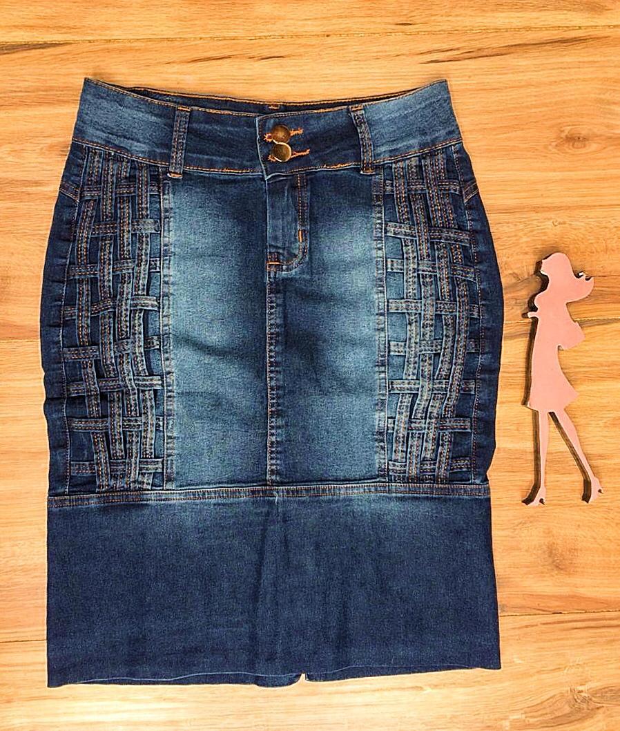 Saia Jeans Coleção Encanto Saia Bella SB061 Escuro