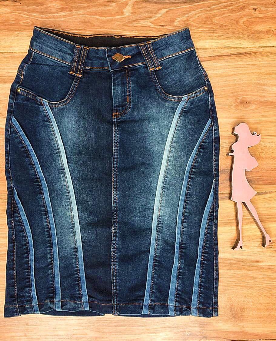 Saia Jeans Coleção Encanto Saia Bella SB062 Escuro