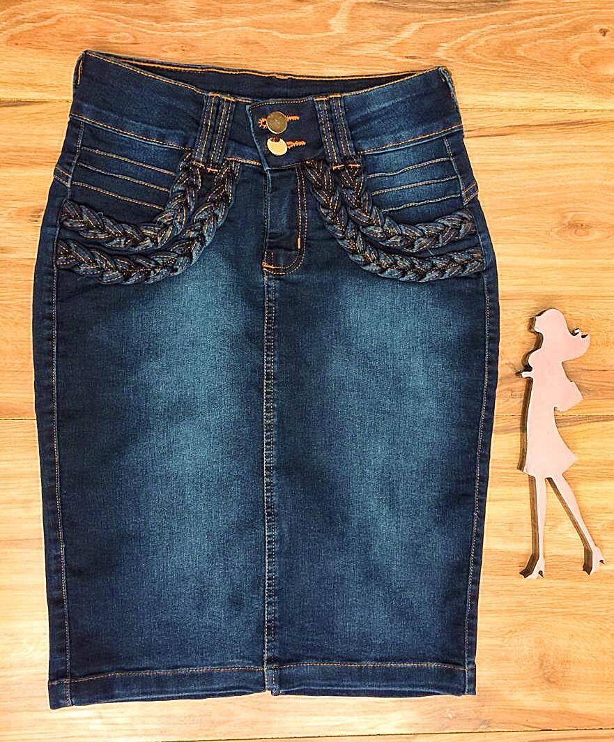 Saia Jeans Coleção Encanto Saia Bella SB064 Escuro