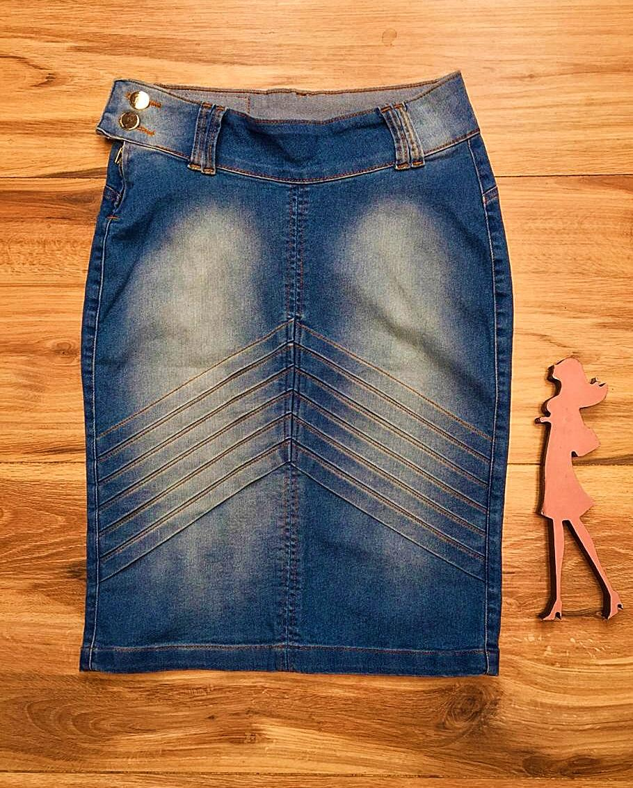 Saia Jeans Coleção Encanto Saia Bella SB065 Claro