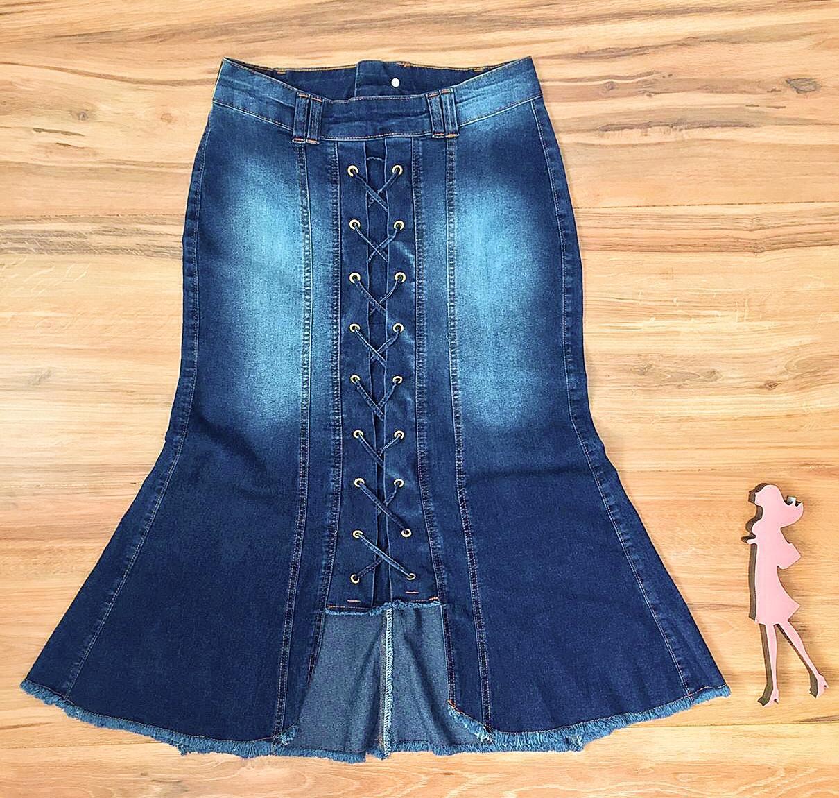 Saia Jeans Coleção Mães Saia Bella SB956A