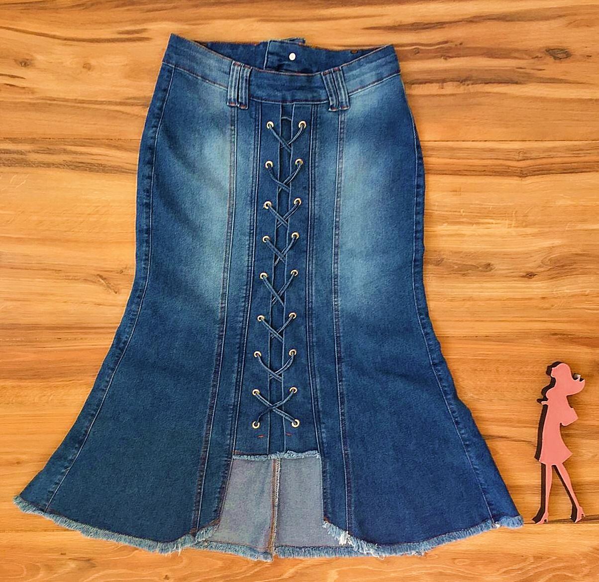 Saia Jeans Coleção Mães Saia Bella SB956B