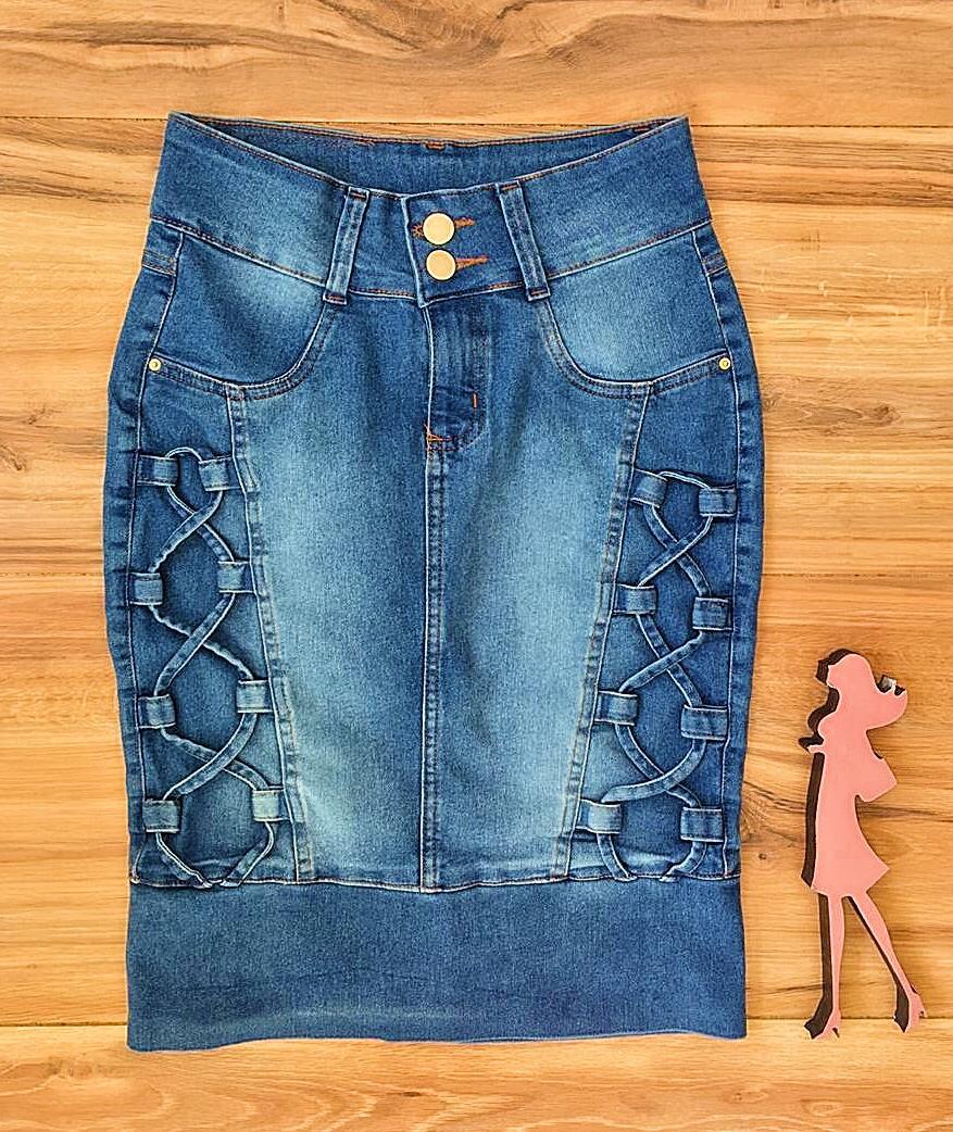 Saia Jeans Coleção Mães Saia Bella SB958