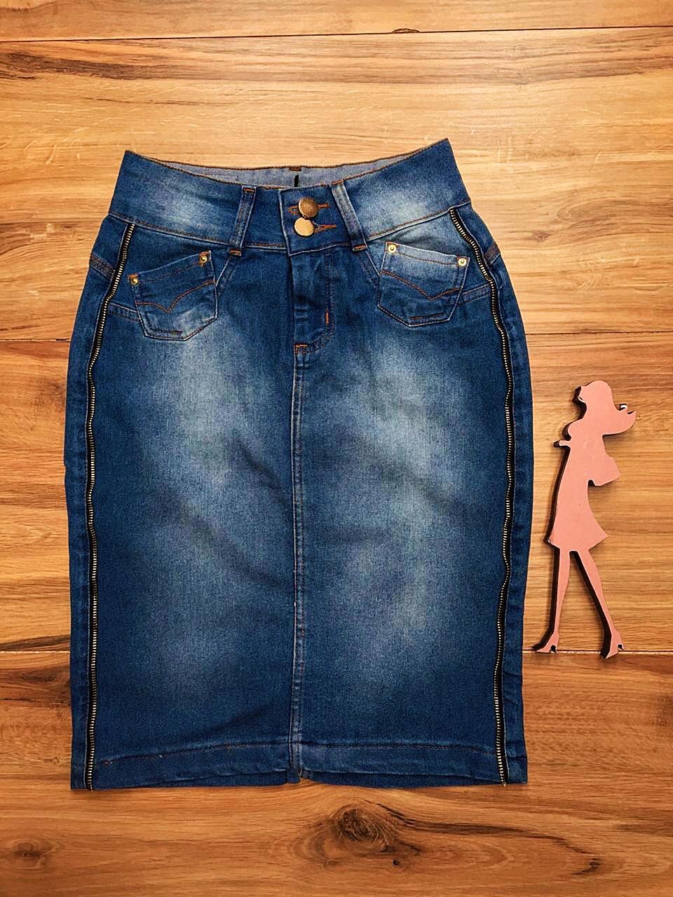 Saia Jeans Coleção Primavera Saia Bella SB039 Claro