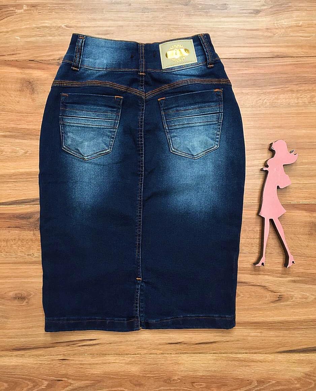 Saia Jeans Coleção Primavera Saia Bella SB039 Escuro