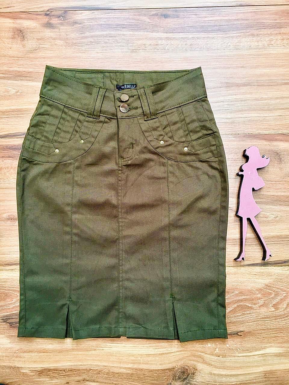 Saia Jeans Coleção Primavera Saia Bella SB040 Verde