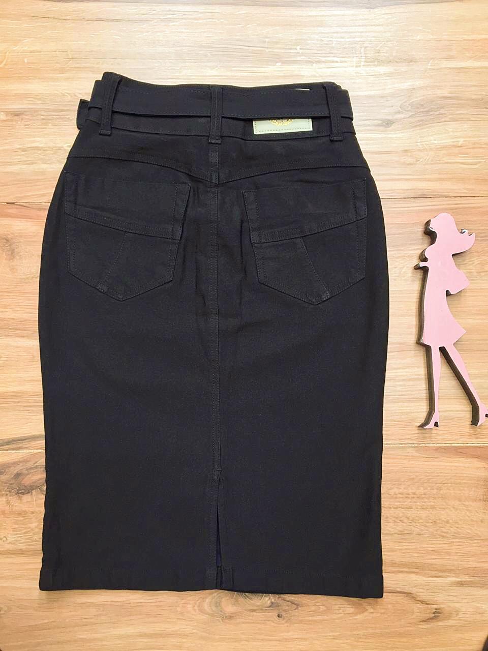 Saia Jeans Coleção Primavera Saia Bella SB041 Preta