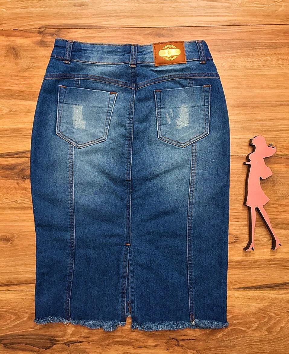 Saia Jeans Coleção Primavera Saia Bella SB050 Claro