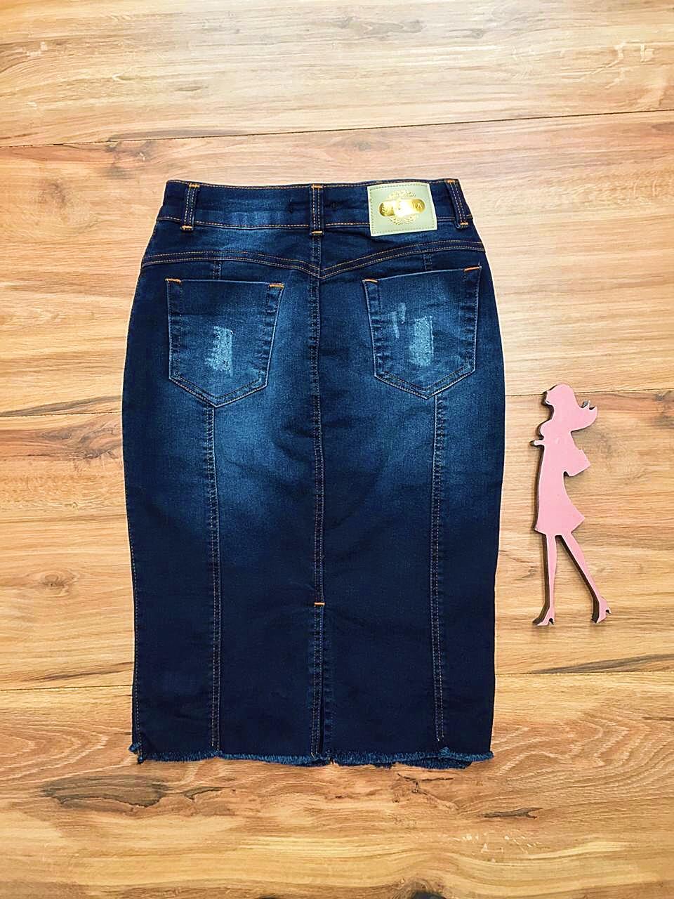 Saia Jeans Coleção Primavera Saia Bella SB050 Escuro