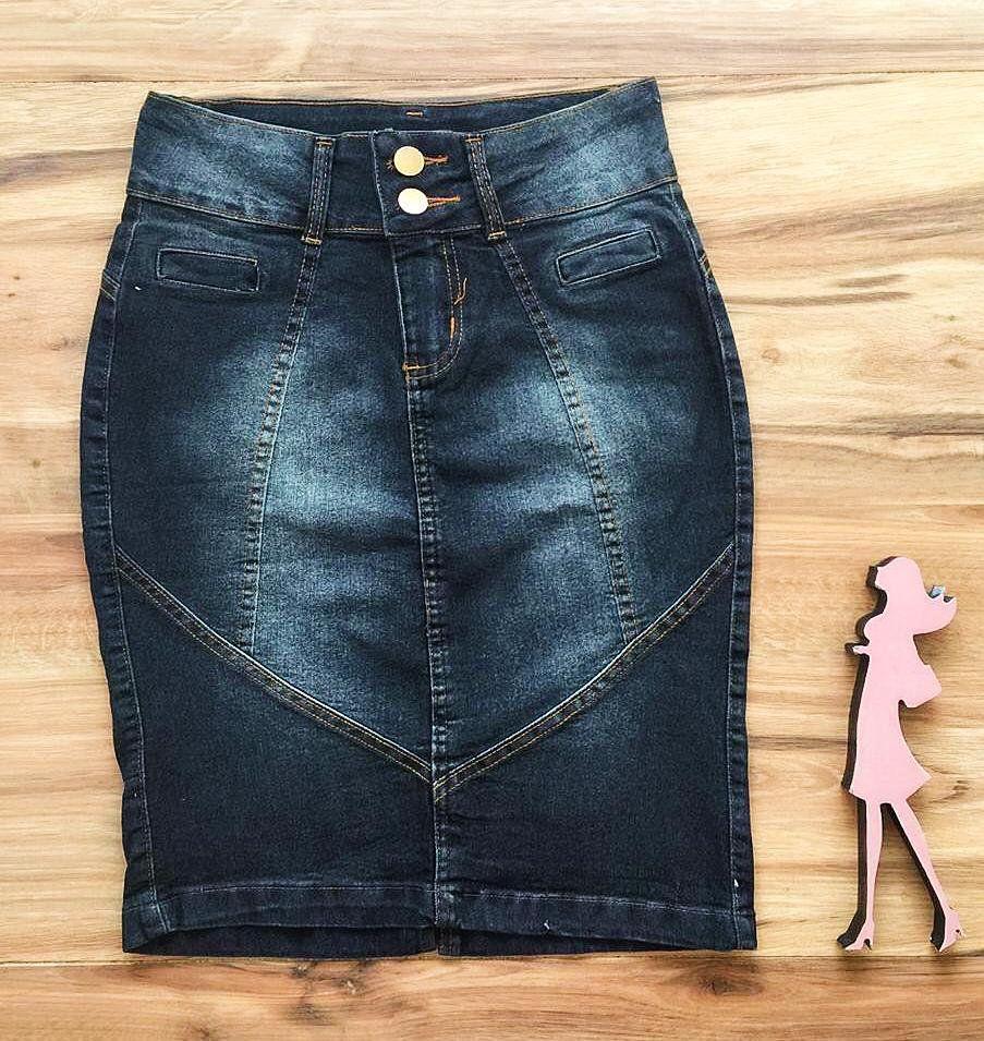 Saia Jeans Coleção Verão  AT080 escuro