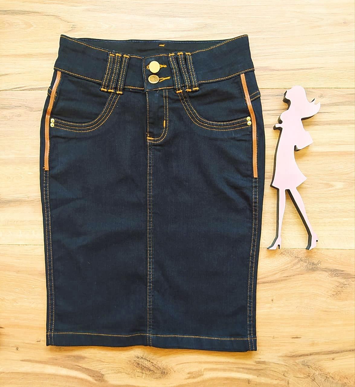 Saia Jeans Electra  Saia Bella SB91025 - Preto