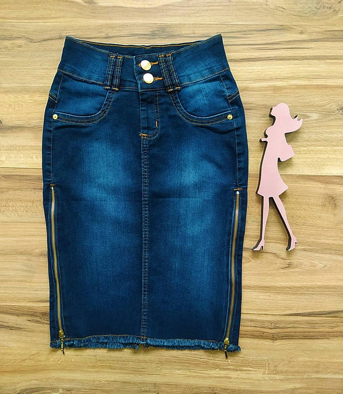 Saia Jeans Eva  Saia Bella SB91106 - Azul Escuro