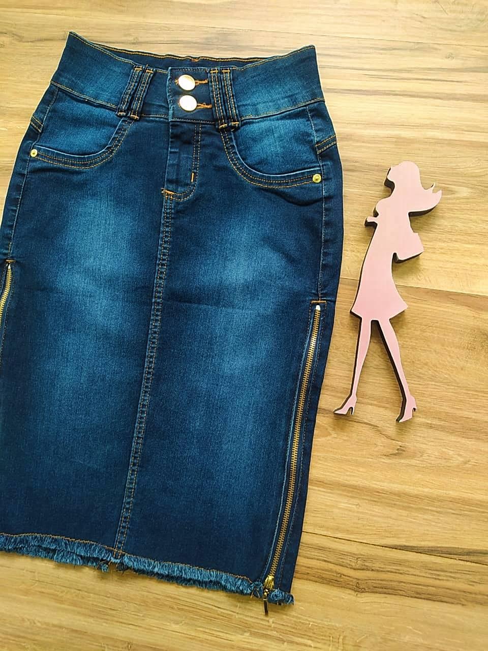 Saia Evangélica Jeans Eva Saia Bella SB91106 - Azul Escuro