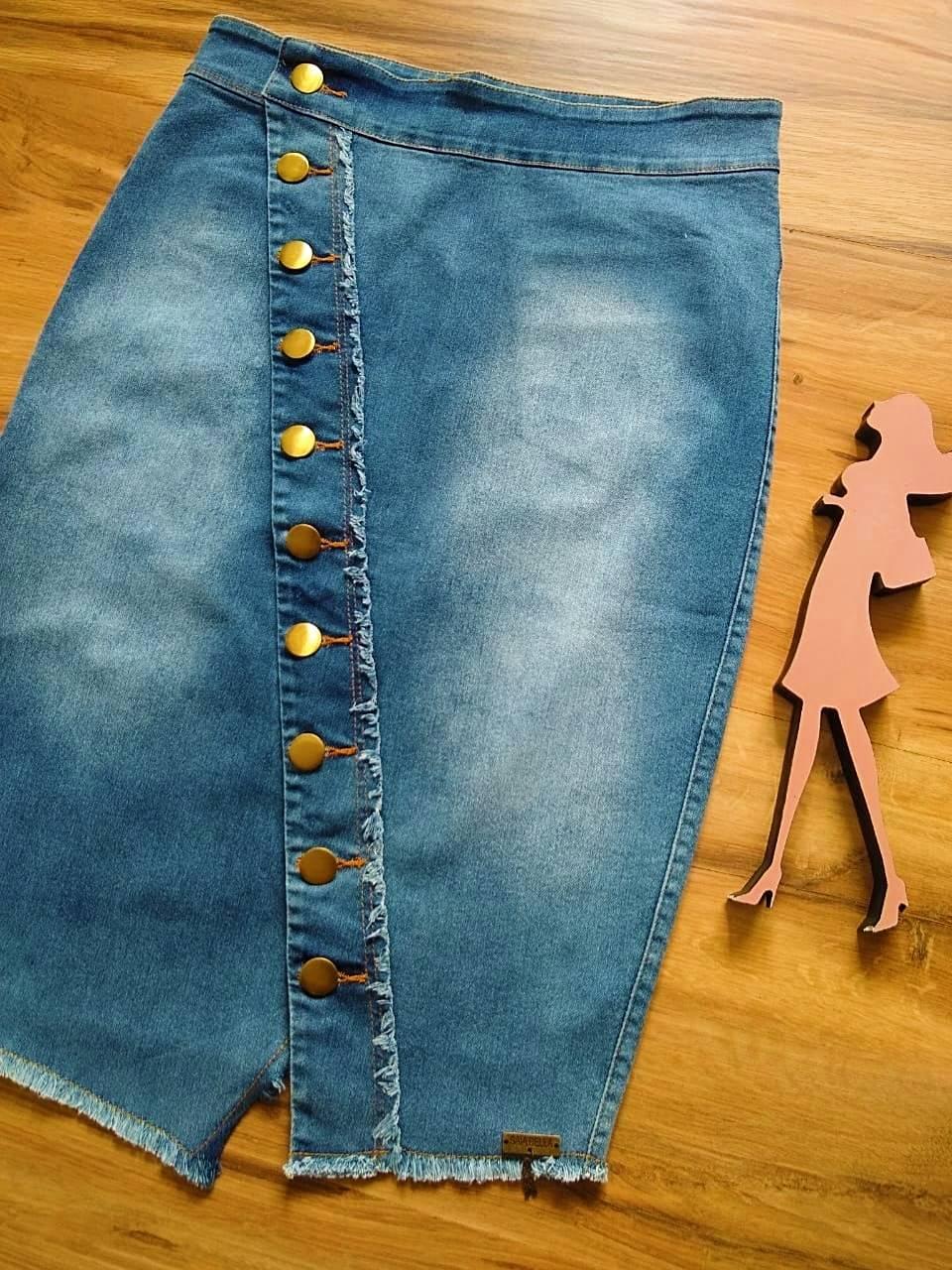 Saia Jeans Flávia SAIA BELLA SB707180 - azul claro