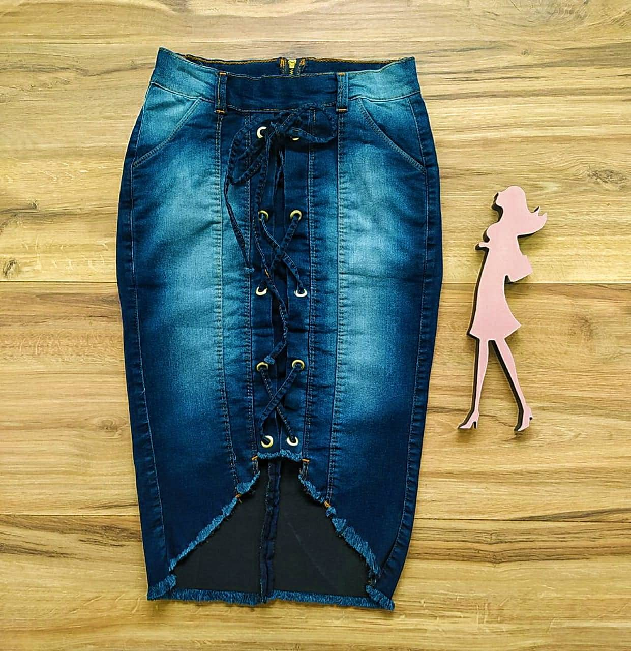 Saia Evangélica Jeans Jany  Saia Bella SB91100 - Azul Escuro