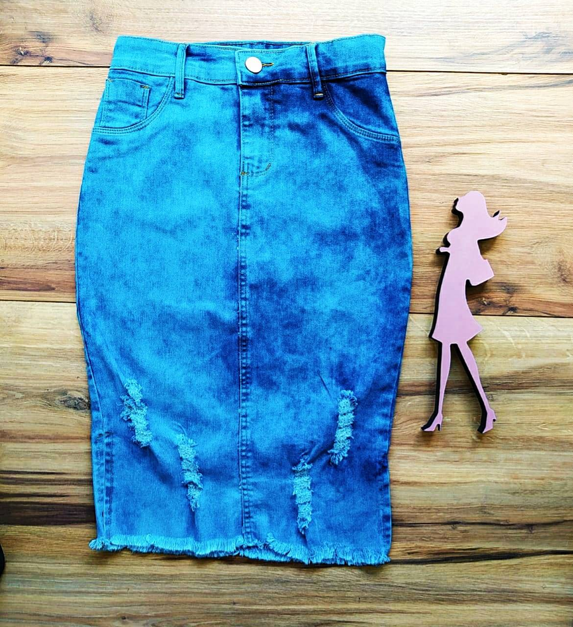 Saia Jeans Jasmine Saia Bella SB20155 Azul Claro