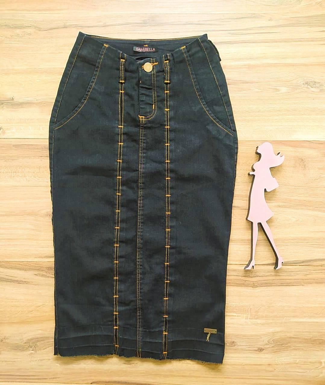 Saia  Jeans Jú  Saia Bella SB91105 - Preto