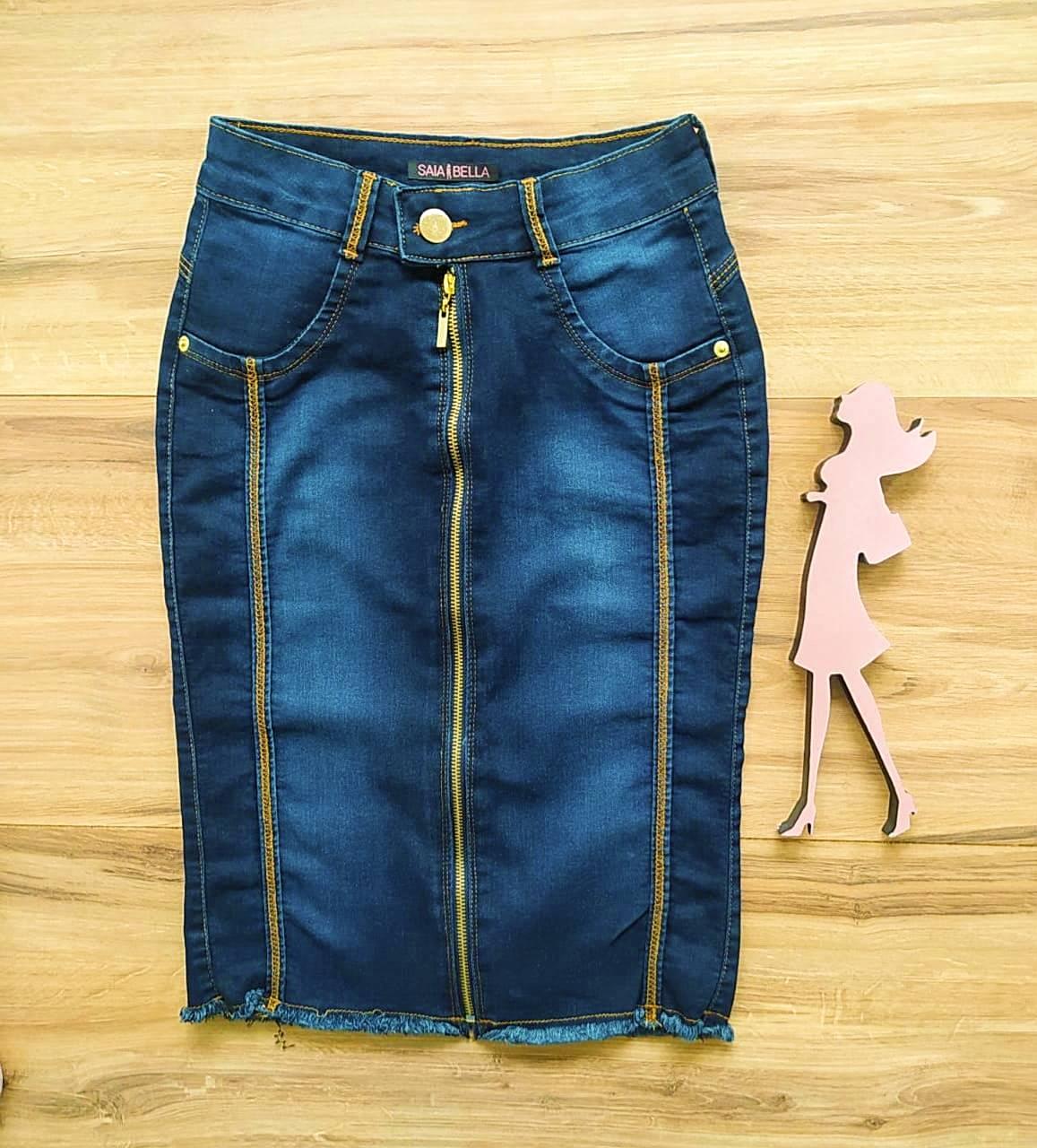 Saia Evangélica Jeans Lika - Saia Bella SB91103 - Azul Escuro