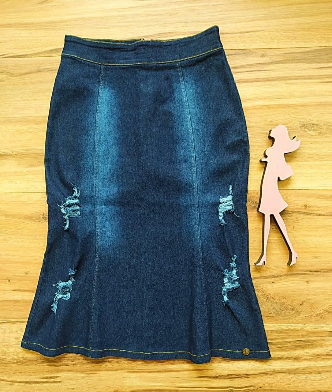 Saia Jeans Miessa Saia Bella SB7743 Azul Escuro