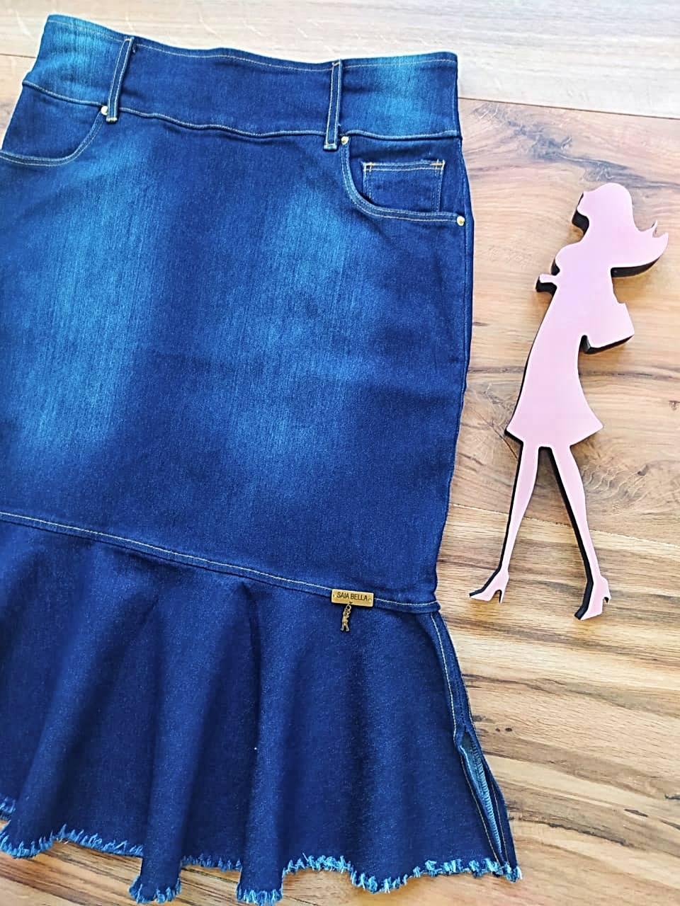 Saia Jeans Cassia  SB121 escuro
