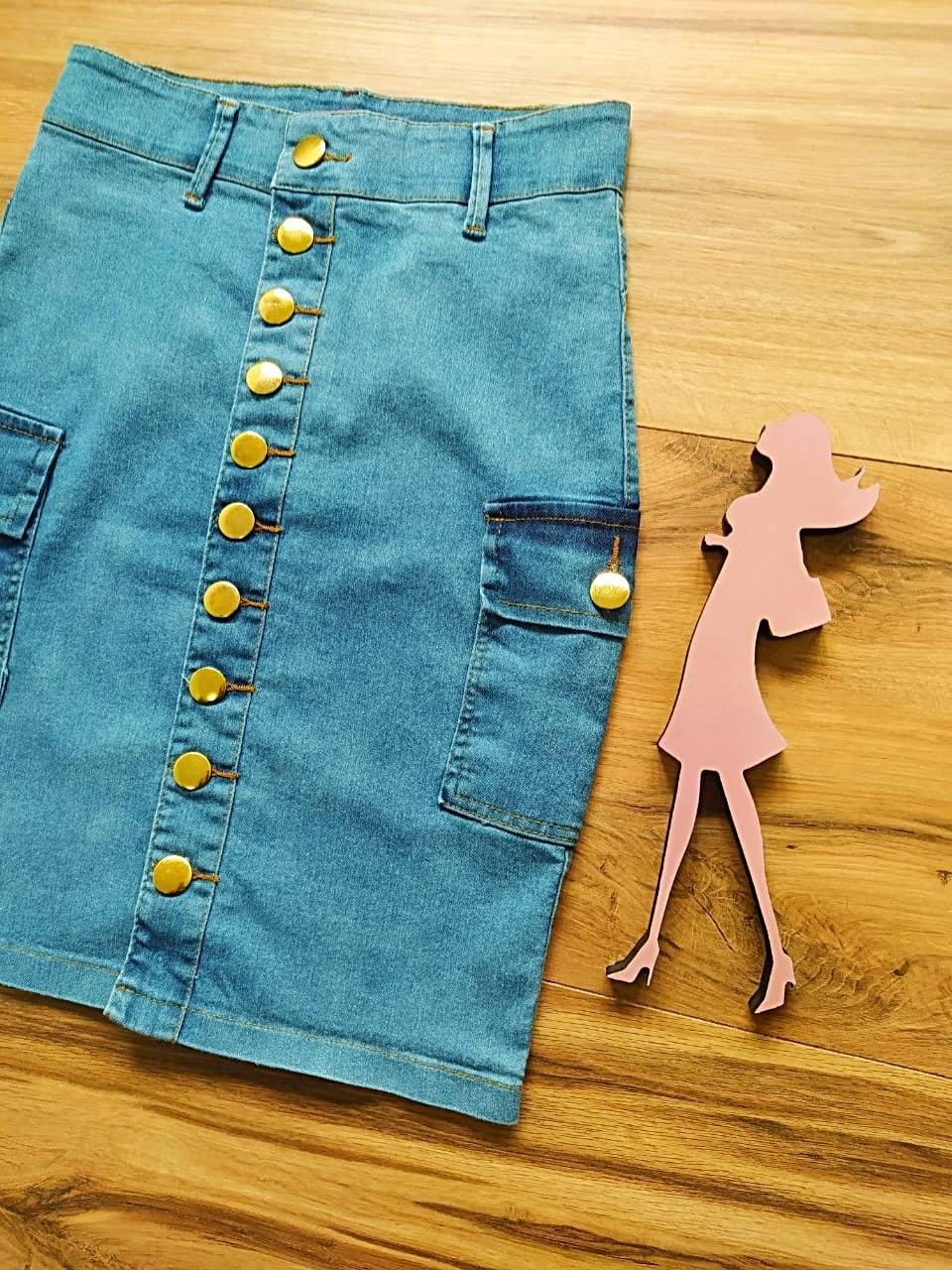 Saia Evangélica Jeans Nicole  SAIA BELLA SB5620 - Azul Claro
