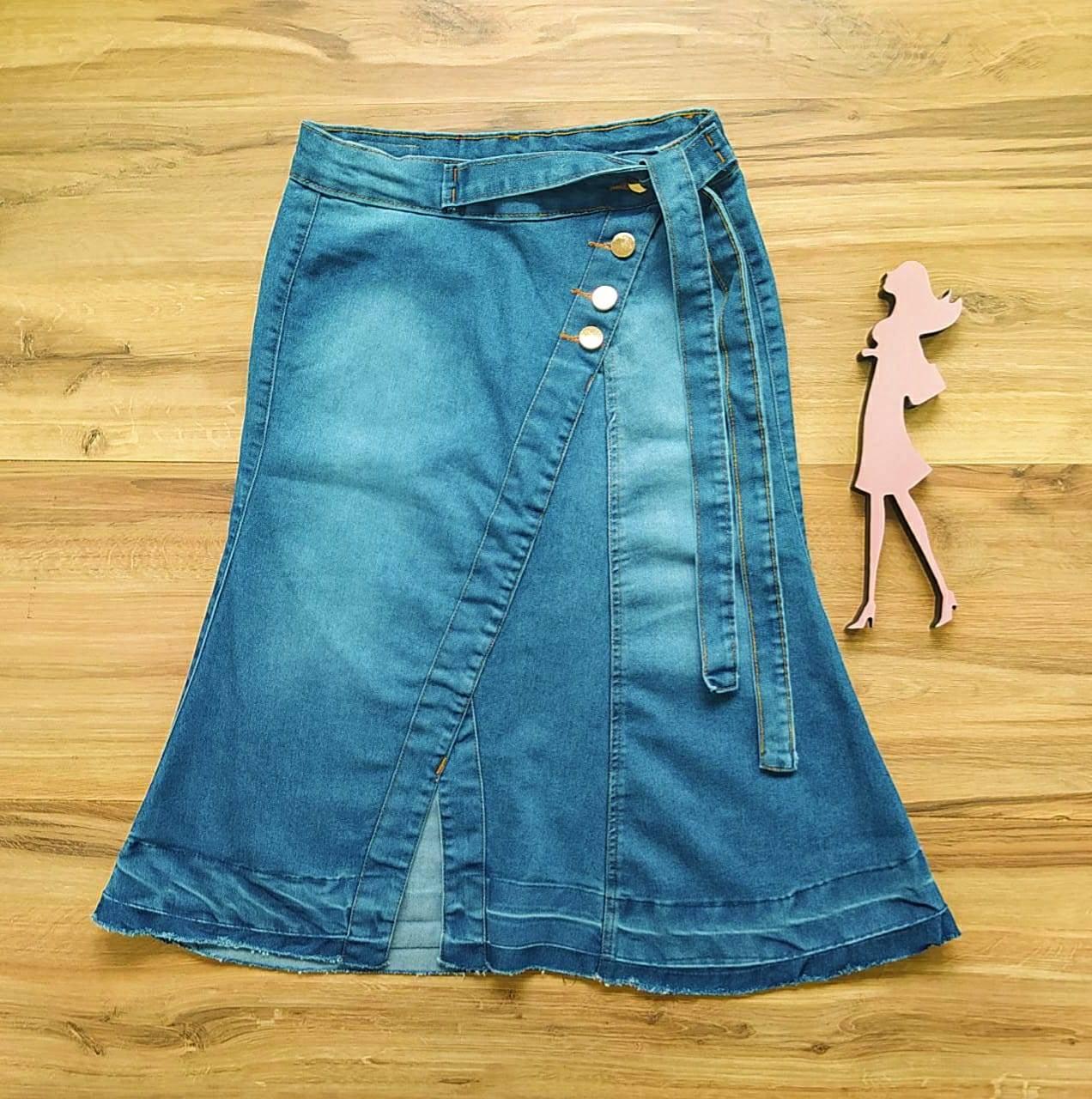 Saia Evangélica Jeans Paty  Saia Bella SB91101 - Azul Claro
