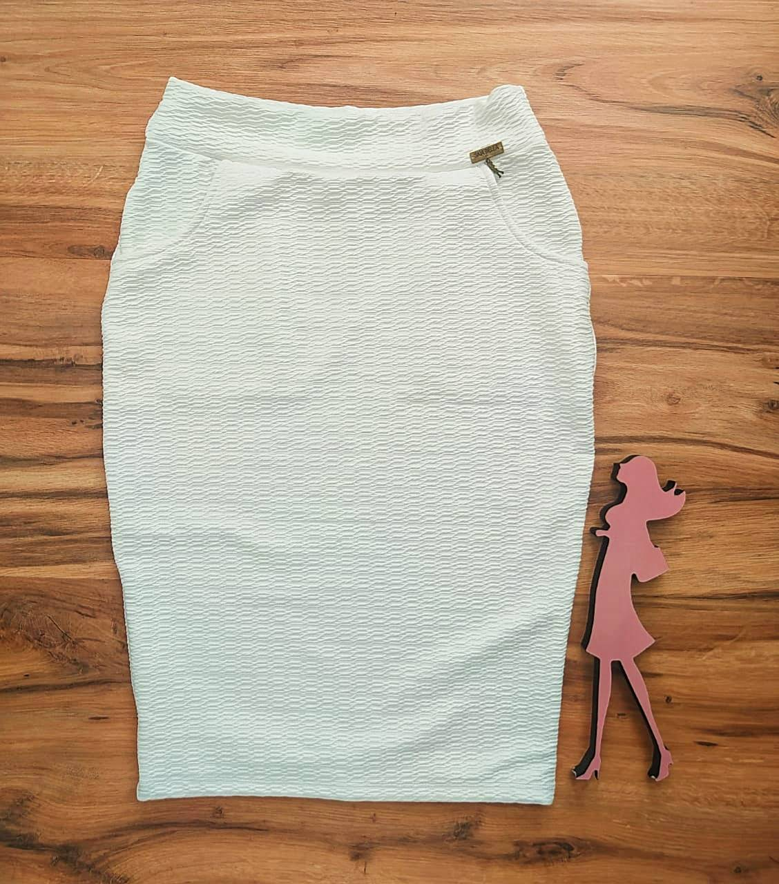 Saia Lápis Mayra Saia Bella cod SB8018803.Branco