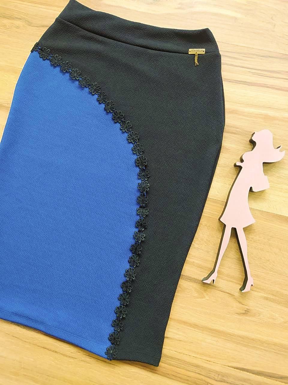 Saia Evangélica Lápis Nara  Saia Bella SB60004 Azul