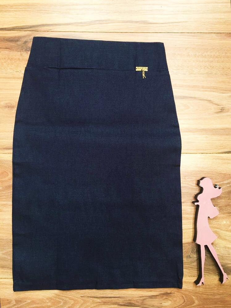 Saia Lápis  Saia Bella SB858  Azul Jeans