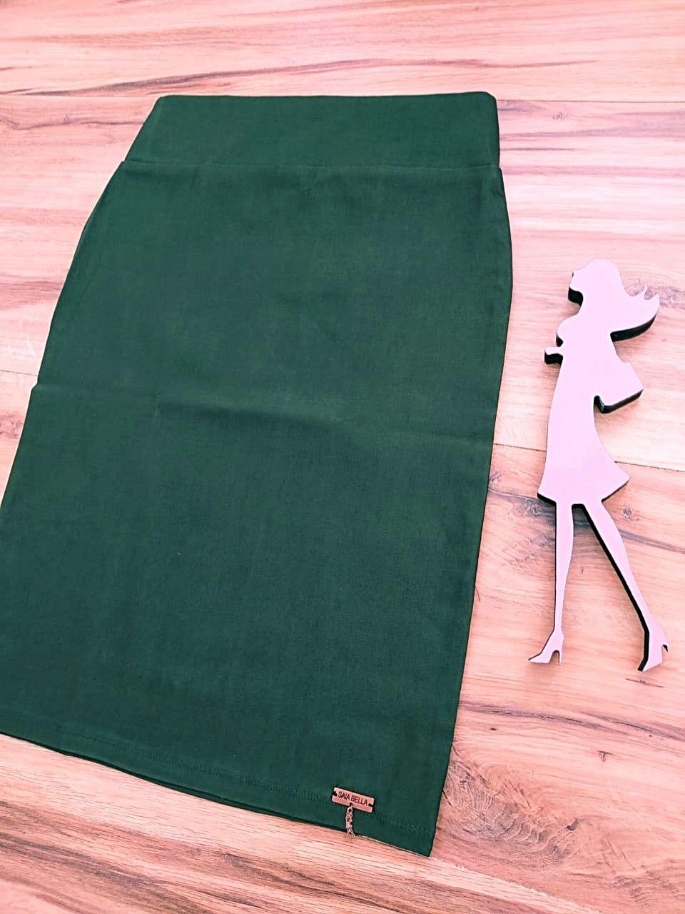 Saia Evangélica Laura Modelo Lápis  Saia Bella SB858  Verde Militar