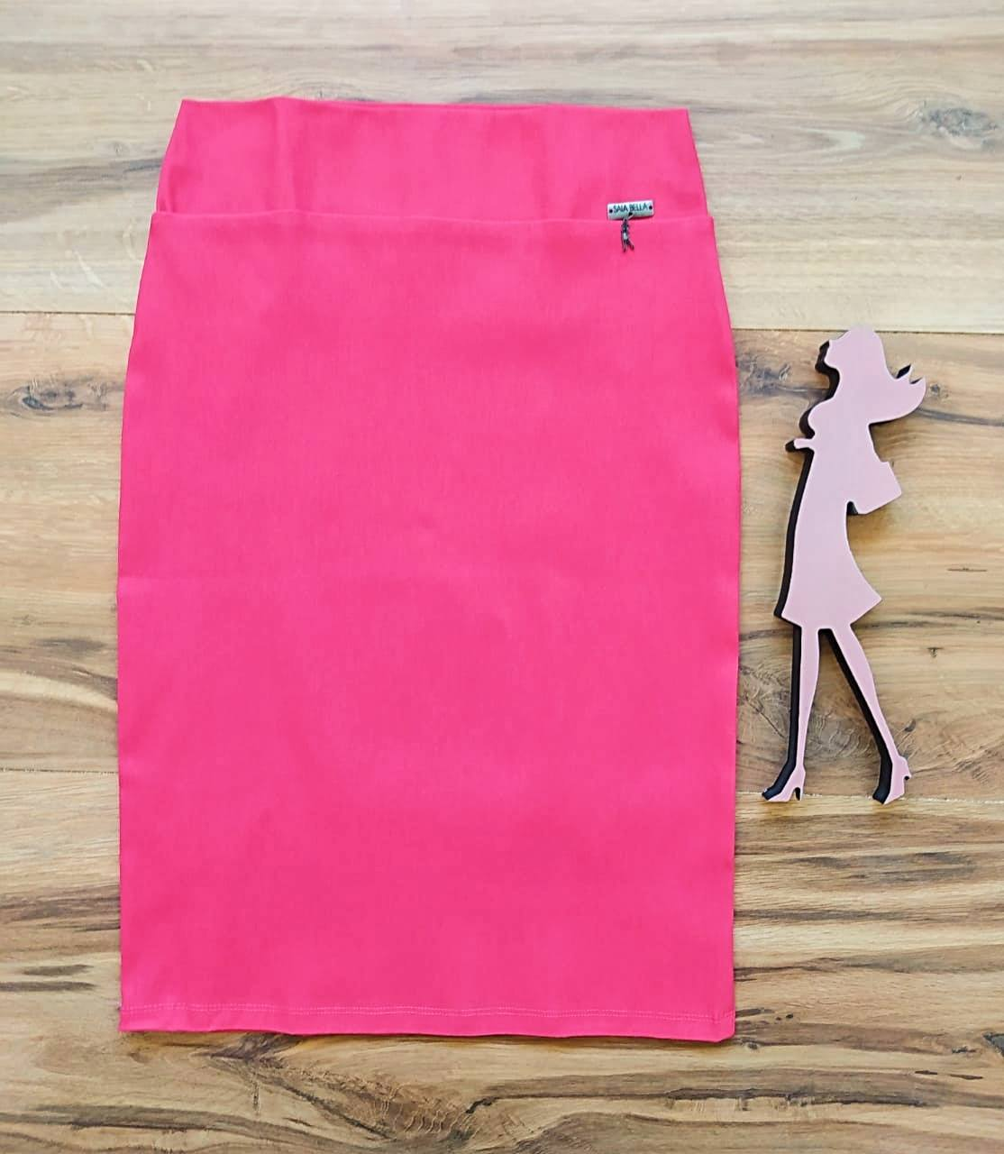 Saia Laura Modelo Lápis  Saia Bella SB858  Pink