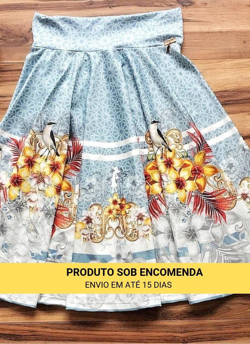 Saia Midi Beija Flor Azul Saia Bella cod SBE024