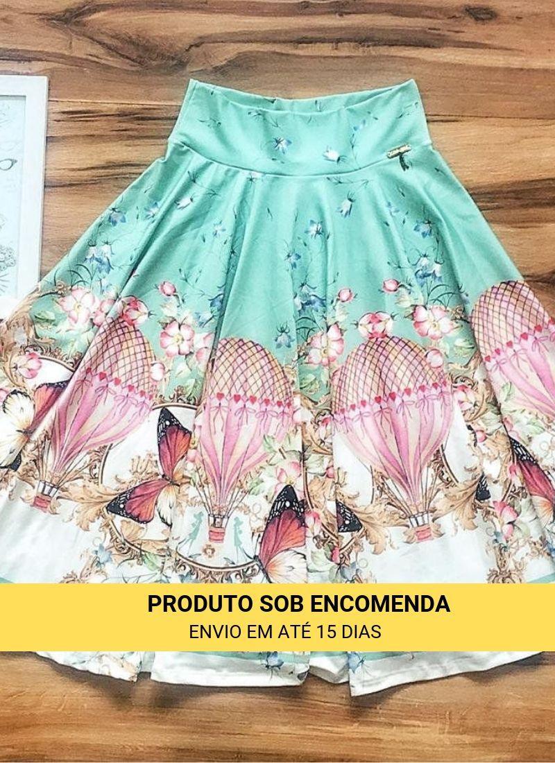 Saia Midi Encanto Saia Bella cod SBE019_verde