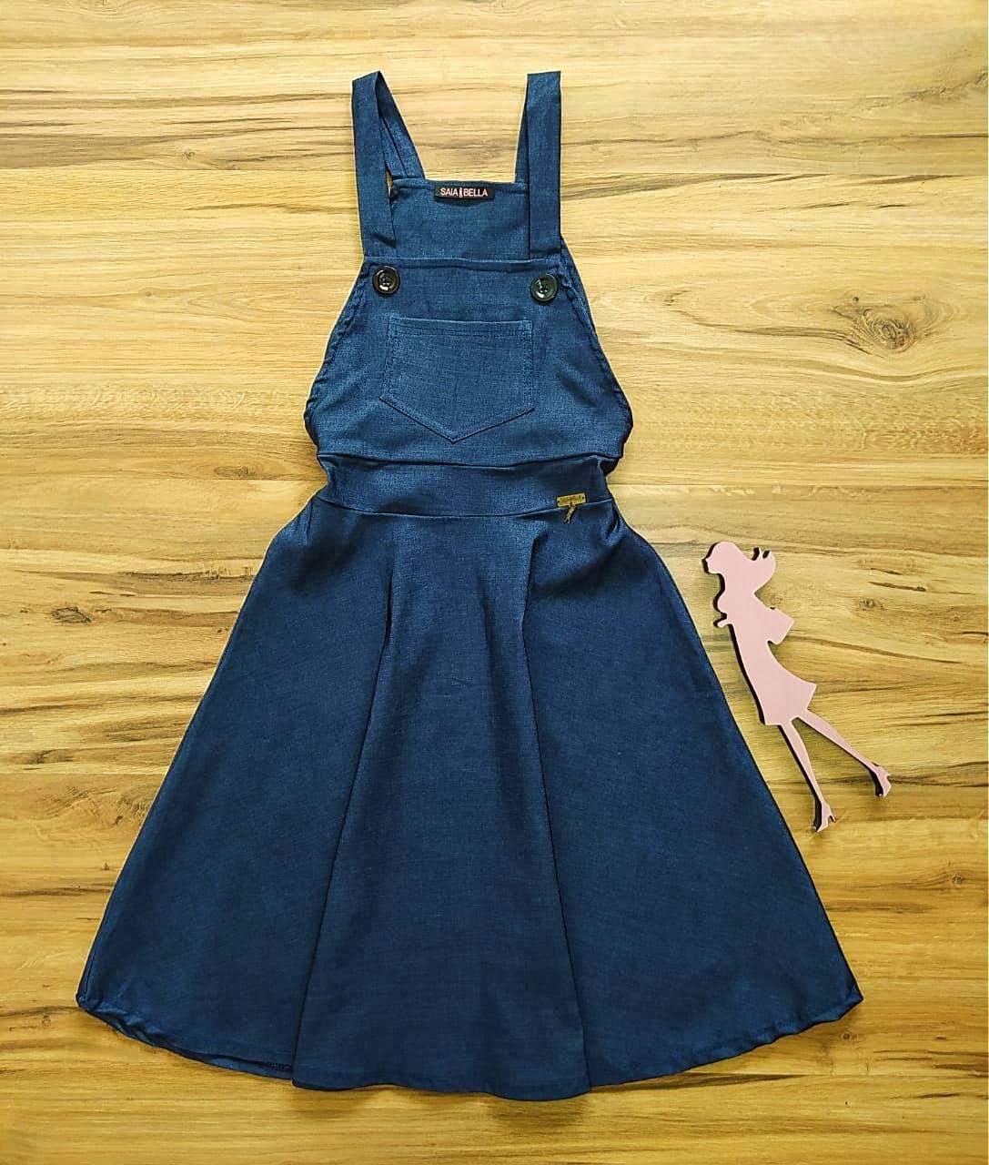 Salopete - Jardineira Mayara Saia Bella  SB51074142 Jeans Azul