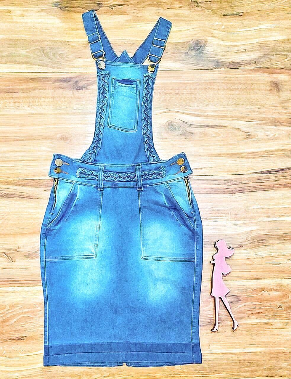 Salopete Jeans Coleção Inverno Saia Bella SB961 claro