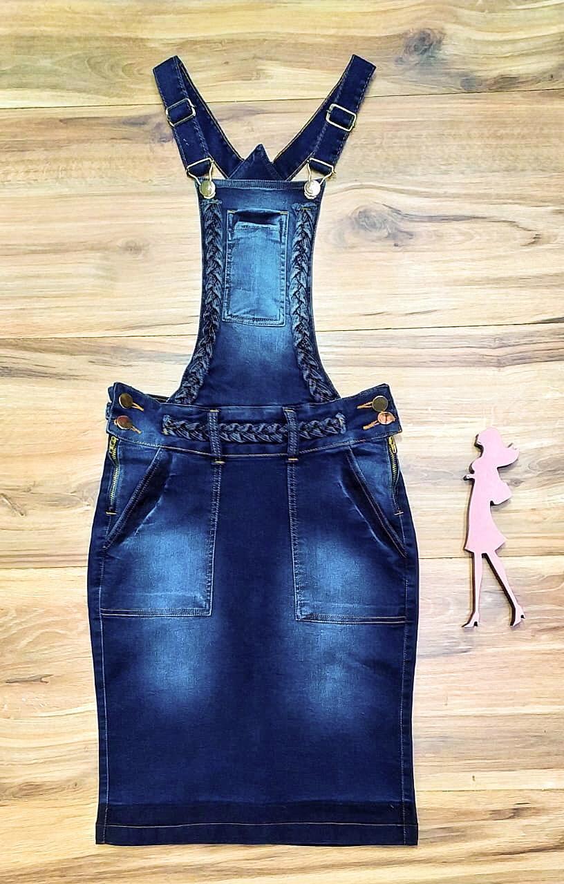 Salopete Jeans Coleção Inverno Saia Bella SB961 escuro