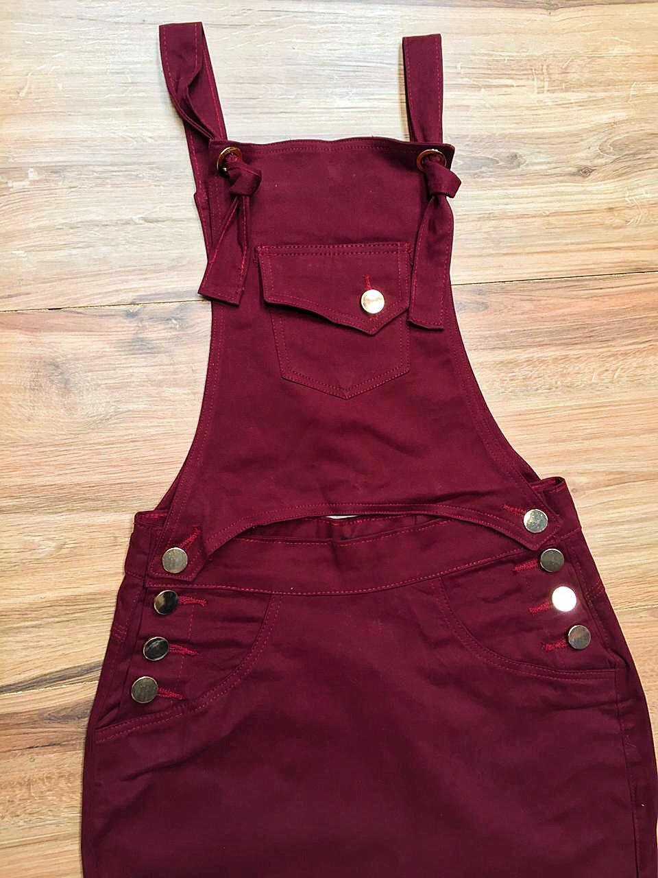 Salopete Jeans Coleção Primavera Saia Bella SB043 Marsala