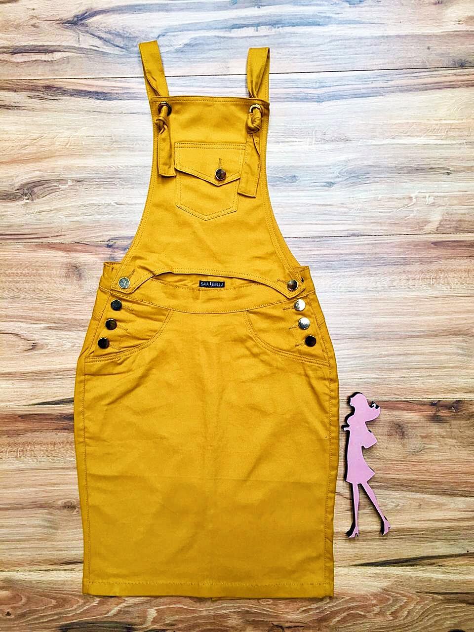 Salopete Jeans Coleção Primavera Saia Bella SB043 Mostarda