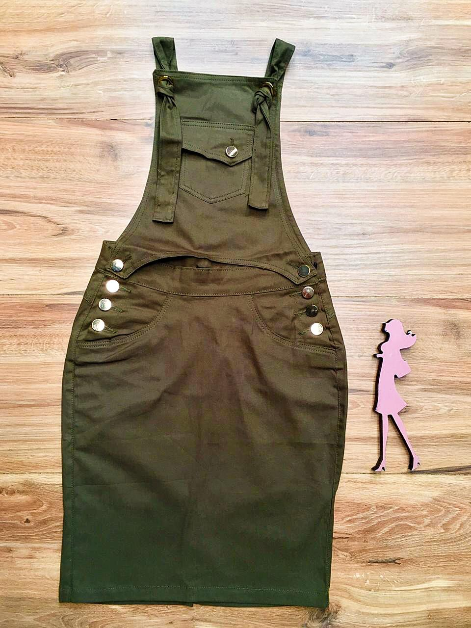 Salopete Jeans Coleção Primavera Saia Bella SB043 Verde