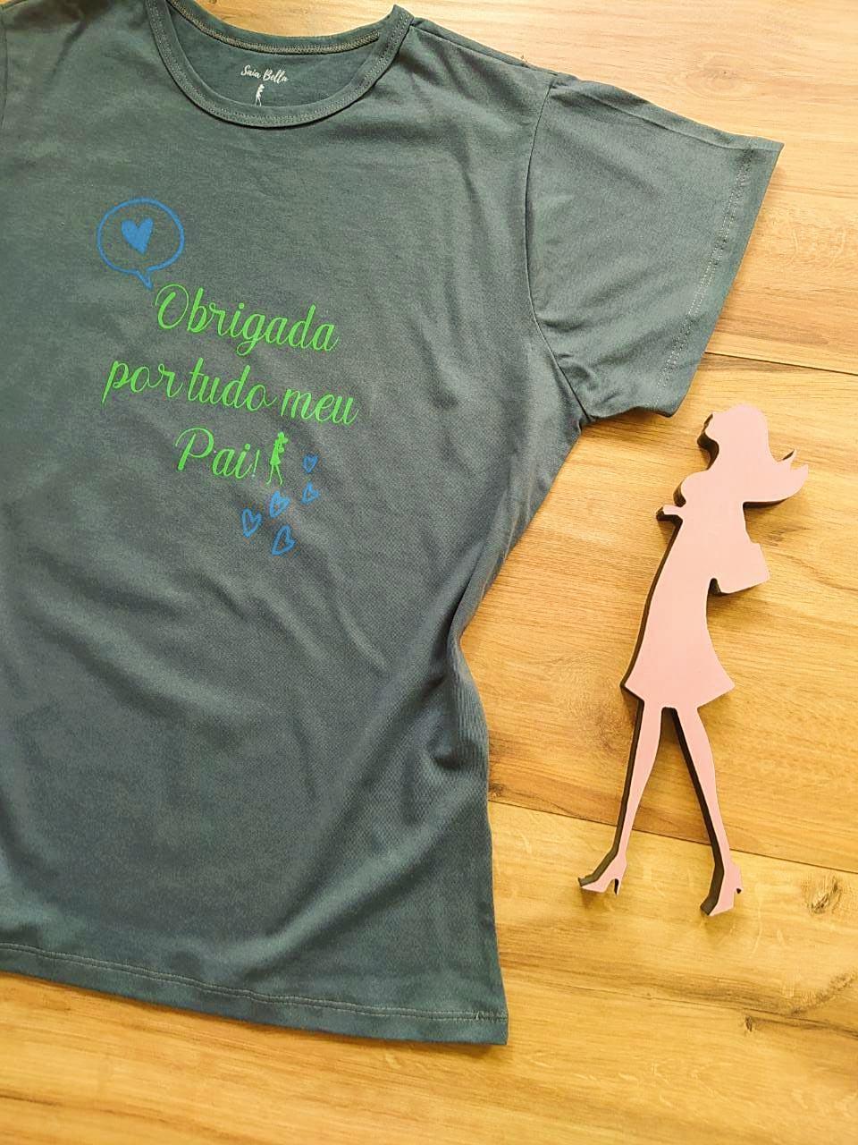 T-shirt Gratidão Saia Bella SB79001 Cinza Grafite
